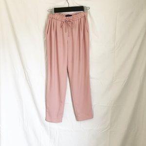 Zara pink pleated drawstring pants with pockets
